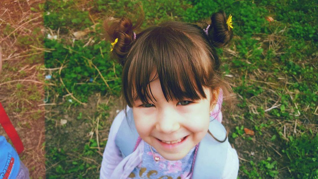 Magic girl Princess Flower Park Child Childhood Portrait Girls Headshot Smiling Happiness Cute Looking At Camera