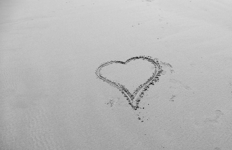 High Angle View Of Heart Shape Drawn On Beach