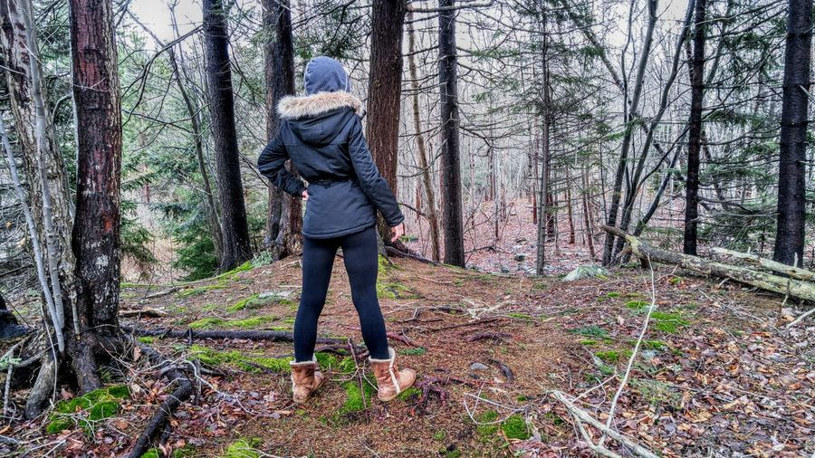 Rear view of woman wearing warm clothing while standing amidst trees in forest