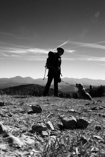 Hiking Tatra Mountains Tatry Trekking Trip View Canine Dog Domestic Domestic Animals Full Length Land Leisure Activity Lifestyles Mammal Men Mountain Mountains Nature One Animal Outdoors People Pet Owner Pets Real People Sky Vertebrate Capture Tomorrow