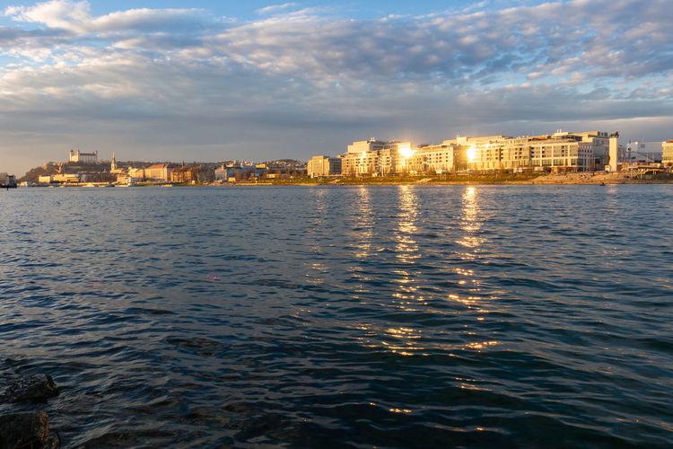 Cityscape City Water Waterfront Architecture Urban Skyline Outdoors Bratislava Slovakia Danube Danube River River