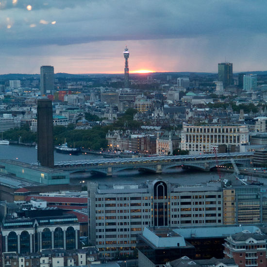 London skyline from the Shard at sunset Architecture BT Tower Canary Wharf City Cityscape No People Sunset Tower Bridge  View From The Shard