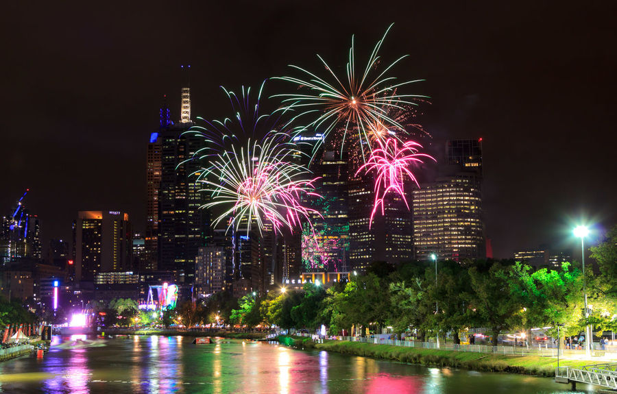 Moomba Fireworks with the CBD in the background Architecture Arts Culture And Entertainment Building Building Exterior Built Structure Celebration City Cityscape Event Exploding Firework Firework - Man Made Object Firework Display Illuminated Motion Nature Night No People Office Building Exterior Outdoors Reflection Sky Skyscraper Water Waterfront