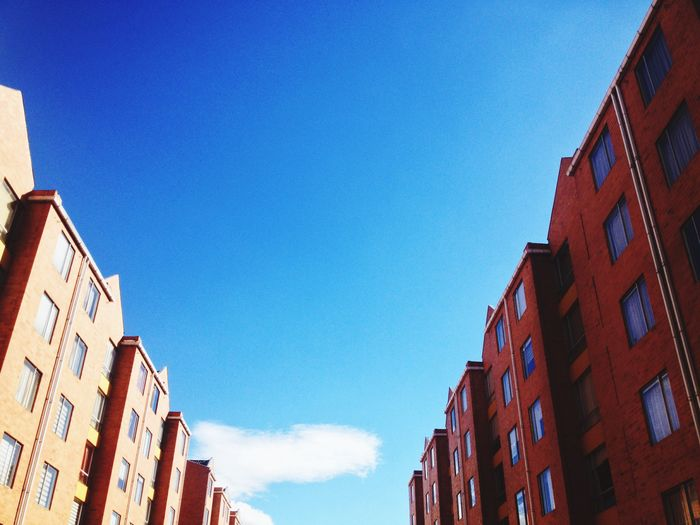 Almost home Building Exterior Built Structure Blue Low Angle View Window Red Day No People Outdoors Sky Clear Sky Blue Sky