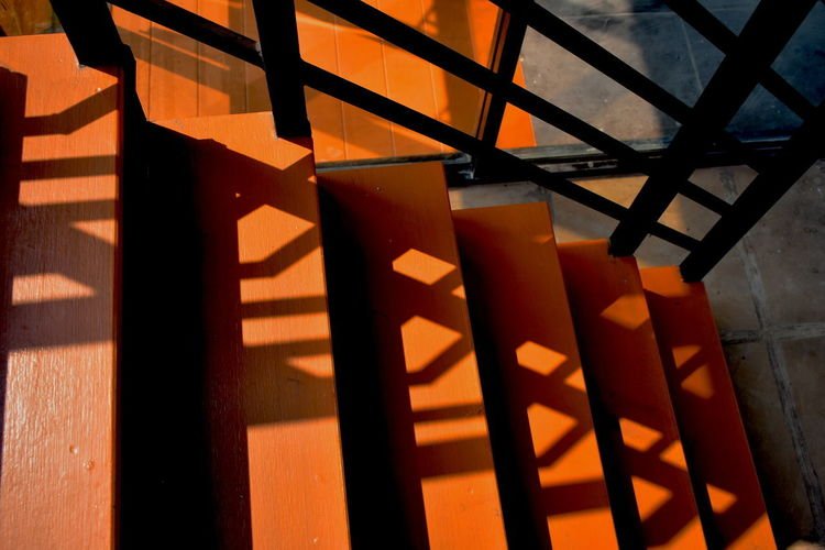 Architecture Close-up Day Illustrated Shadowy Ladder In Bright Sunshine Indoors  No People Shadow Sunlight