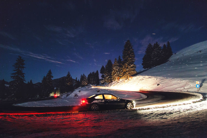 E46 3series Be. Ready. E46 Road Beauty In Nature Bmw Car Hairpin Illuminated Mode Of Transport Mountain Mountain Range Nature Night No People Outdoors Sky Snow Transportation