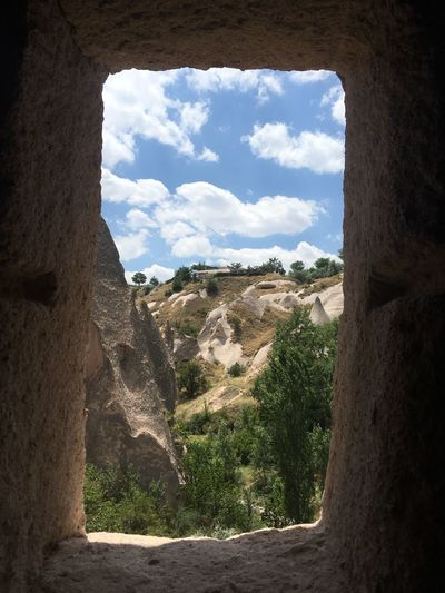 Cave window Sky Cloud - Sky Architecture Nature Sunlight Window Built Structure History The Past Outdoors Wall - Building Feature