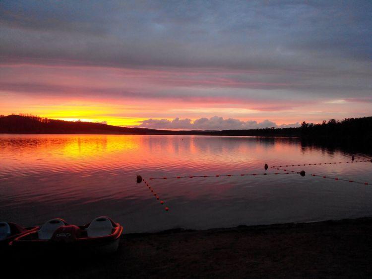 люблюзакат лето лагерь  озеро