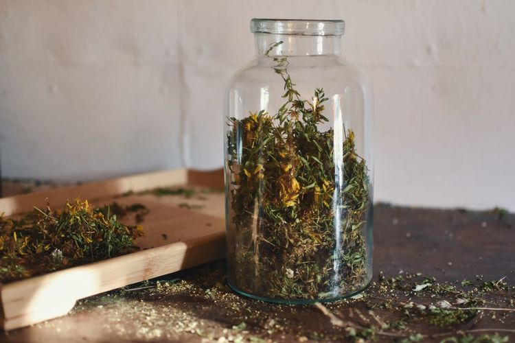 Close-up Day Dried Plant Herb Herbal Herbal Medicine Herbal Tea Indoors  Jar No People St. John's Wort Table