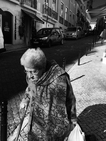 Old Lady ... Real People Oldlady Blackandwhite Black And White Light And Shadow One Person Lisboa Lisbon Sun Streetphotography Street Photography Monochrome Bwstreet Senior Adult