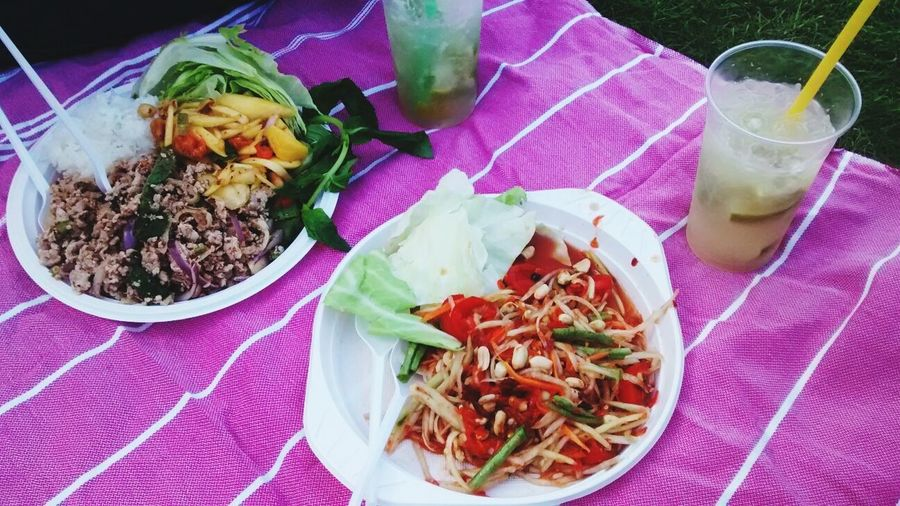 Thai food at Preussenpark. Thaiwiese Hungry Eating Colorful