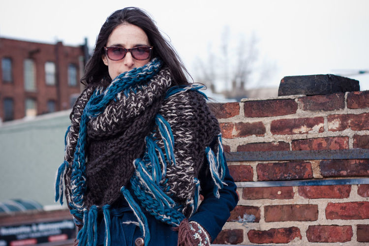 Beautoful Brick Brick Wall Bright Brooklyn Cold Fashion Girl Happiness Person Rooftop Scarf Smile Sunglasses Sunny Woman