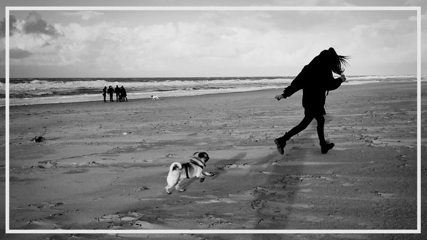 Lina Playing With The Animals Seaside Black & White This Must Be The Place Enjoying Life