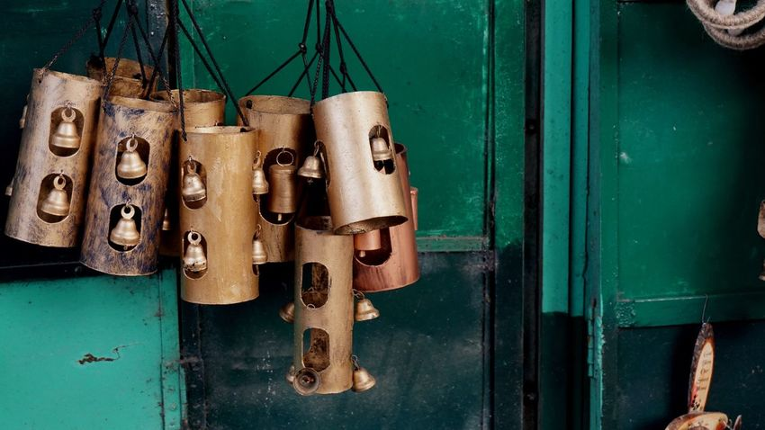 Metal Hanging Close-up No People Indoors  Kasauli Hills Kasauli Bells Metal Bell Golden Green Color Contrasting Colors