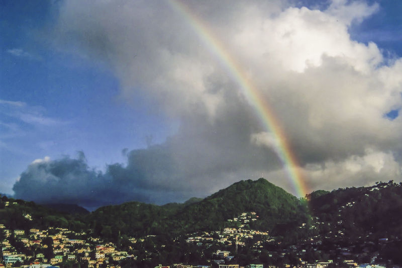 Scenic view of rainbow over mountains