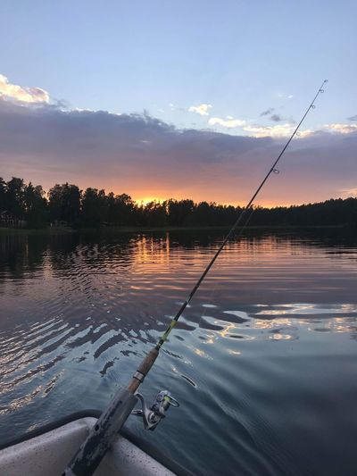 Water Sky Reflection Tranquility Tranquil Scene Scenics - Nature Beauty In Nature Cloud - Sky No People Non-urban Scene Fishing Rod Sunset Lake Plant Day Outdoors Nature Fishing Rod Tree