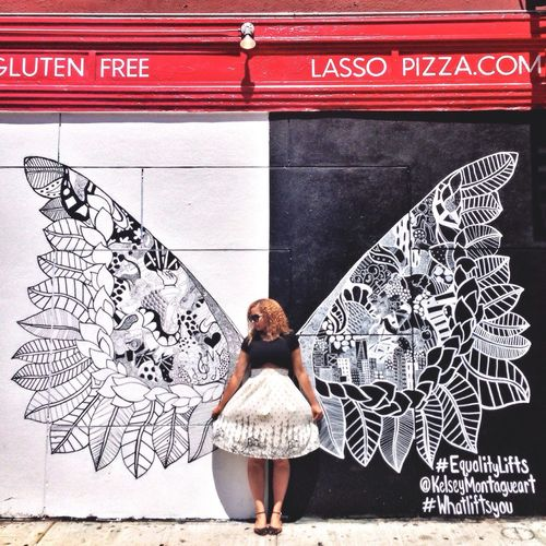 Equalitylifts Kelseymontagueart Whatliftsyou NYC Photography Streetphotography Streetart Today's Hot Look NYC Angelwings  Mural