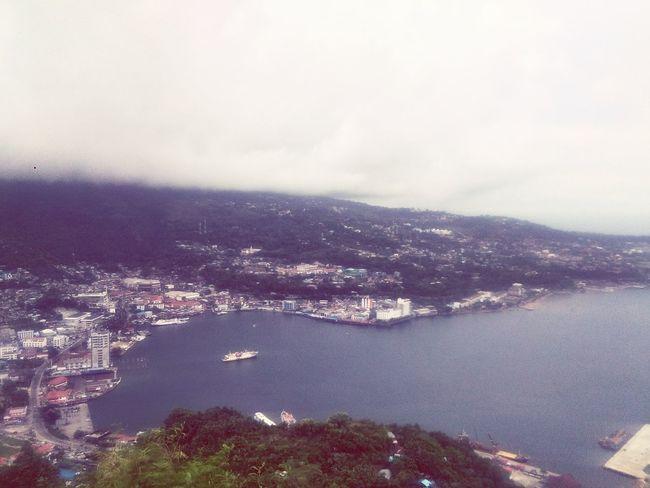 City Aerial View Mountain Sea Tree Sky Cloud - Sky Landscape