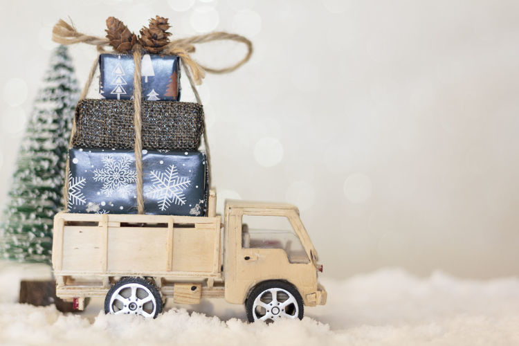 Vintage car in snow during christmas