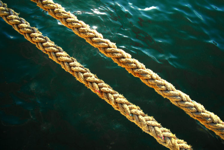 High angle view of rope over water
