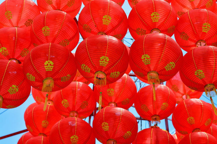 Low angle view of lanterns hanging in traditional clothing
