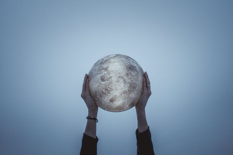 Moonlight Moon Nature Sphere Shape Human Body Part One Person Geometric Shape A New Perspective On Life Close-up Single Object Sky