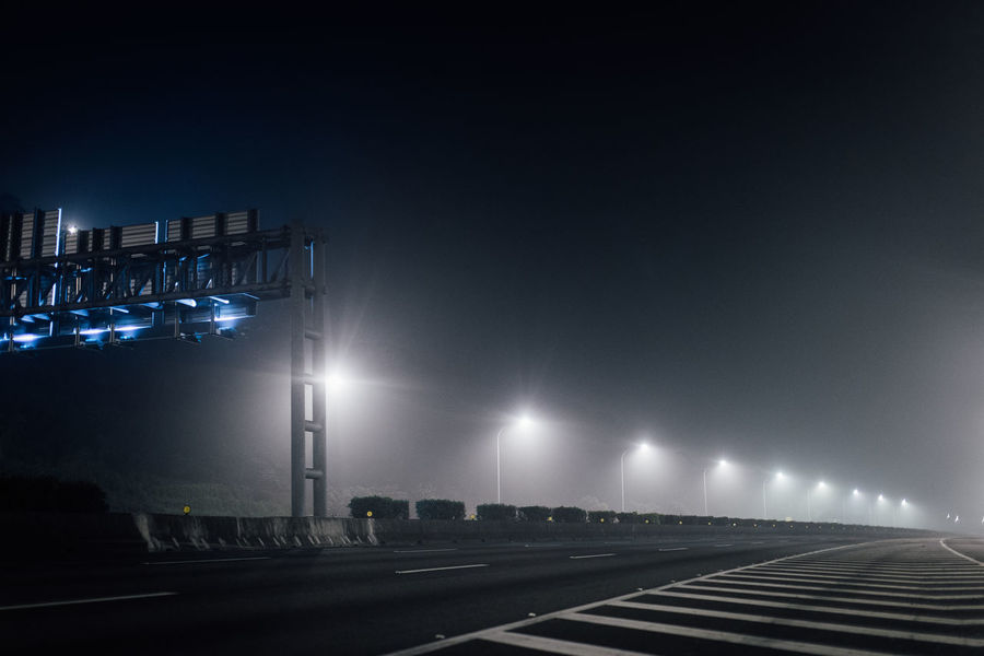 a record from the construction of ETC Gantry on the freeway in Taipei. Architecture Etc Freeway Gantry Highwayphotography Highways&Freeways Lighting Equipment Night No Cars  No People Outdoors Road Street Light The City Light