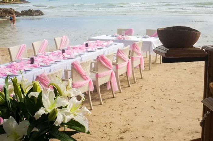 Wedding on the beach. Beauty In Nature Nature Close-up Outdoors Sky Day Cloud - Sky Life Events Flower Sea Beach Chair Sand Pink Color Table Water Summer Nature Beauty In Nature