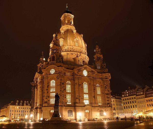 Frauenkirche Dresden at Night Germany Dresden Church City