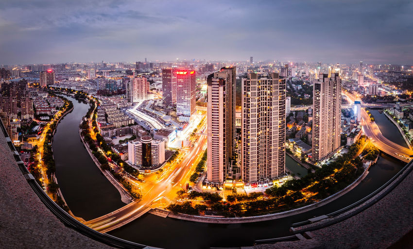 Skyline Of Hefei, Anhui, China. 2016-09-06 Anhui China City Cityscape Hefei High Angle View Illuminated Nightscape Panorama Skyline Urban Neighborhood Map