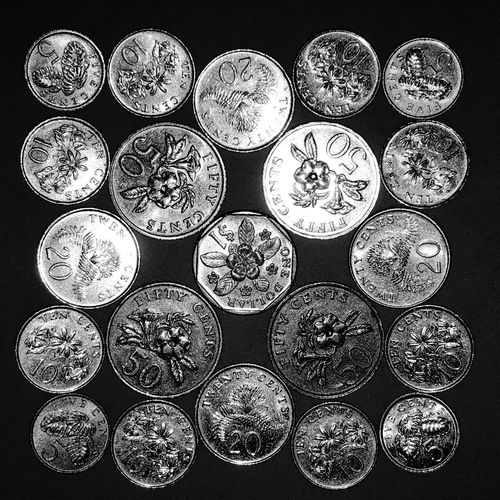 SINGAPORE coins (dollar and cents) Coins Collection Coins Coin 5 Cents Coin 10 Cents 20 Cent 50 Cent  1 Dollar Singapore Cents Singapore Dollars Singapore Cents  Dollar Pattern Indoors  No People Design Circle Still Life Full Frame Shape Close-up Metal Repetition High Angle View A New Beginning EyeEmNewHere
