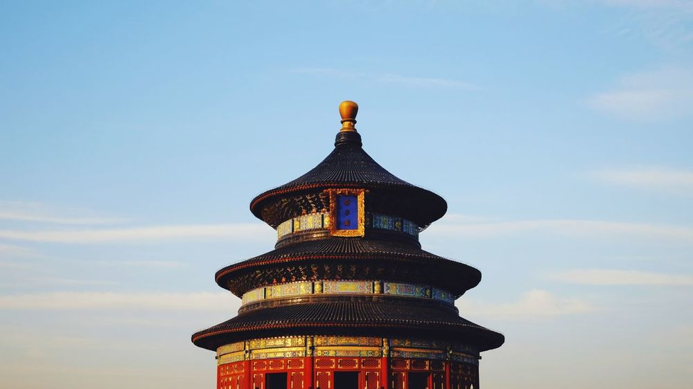 Architecture City Travel Destinations History Built Structure Sky Building Exterior No People Palace Low Angle View Sunset Dome Outdoors Cityscape Roof Skyscraper Blue Modern Day Ancient Civilization Old Architecture Beijing, China FUJIFILM X-T10 Temple Of Heaven Park Old Building