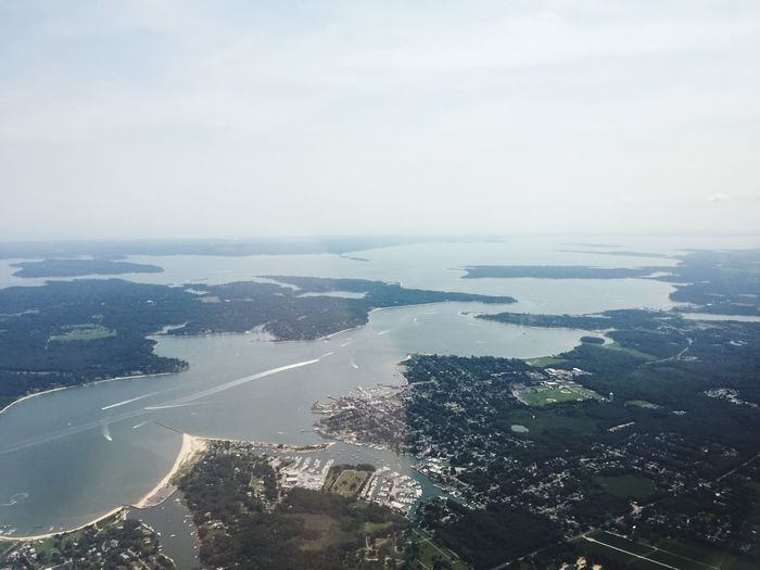 Long Island, Ny From The Cockpit Flying Aviation From An Airplane Window Aerial Shot