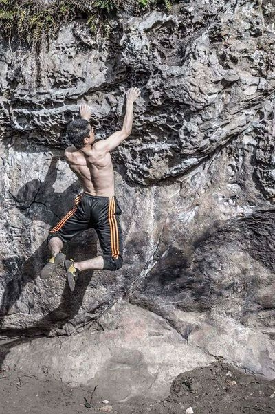 One Person Danger One Man Only Jumping Extreme Sports Adult Day Balance Flexibility Vitality Adventure Outdoors Rocky Escalator Escalator Action Scale  Scalators Scaling Escalar