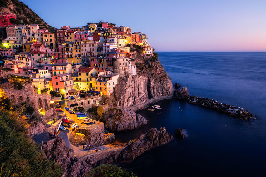 Architecture Built Structure Cinque Terre Clear Sky Cliff Colorful Day Dusk EyeEm Best Shots EyeEm Nature Lover Horizon Over Water Italy Manarola Nature No People Outdoors Rock - Object Rock Formation Scenics Sea Sky Travel Travel Destinations UNESCO World Heritage Site Water Been There.
