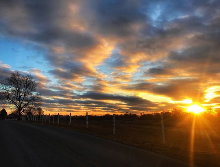 Dramatic sunset Country Road Countryside Sun Rays Sunshine Dramatic Sunset Dramatic Sky Beautiful Sky Sky Sunbeam Clouds Sunset Road Sun Sky Scenics Cloud - Sky Sunbeam Nature Beauty In Nature Tranquil Scene Silhouette No People Tranquility Sunlight Landscape Outdoors Tree Bare Tree The Great Outdoors - 2018 EyeEm Awards