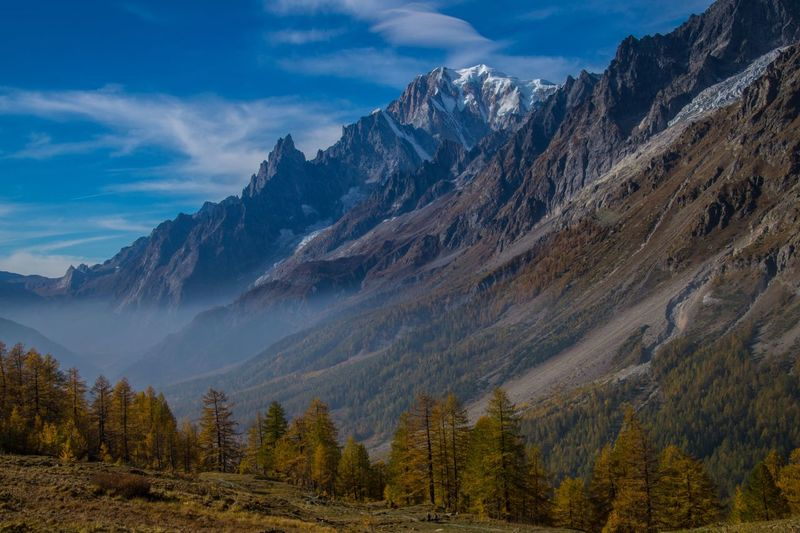 refuge bonatti,courmayeur,italy Mountain Beauty In Nature Sky Scenics - Nature Mountain Range Cloud - Sky Tranquil Scene Tranquility Non-urban Scene Landscape Nature Environment Plant Tree Idyllic No People Remote Day Land Outdoors Mountain Peak Snowcapped Mountain Formation