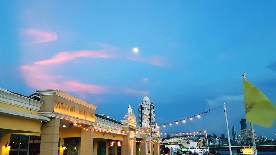 sky Bangkok Thailand Blue Sky Evening Moon Sweet Sky