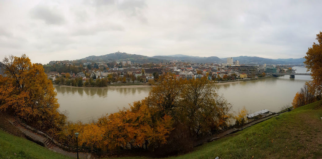 Linz Panorama Linz Linz/Austria Riverside Panorama Linz Panorama Tree Water Politics And Government Lake Mountain Reflection Sky Landscape Leaves Panoramic Countryside Fall Urban Scene