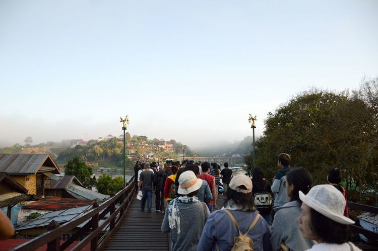 5 January 2017 : tourists on wooden Mon Bridge, Sangkhla Buri, Kanchanaburi, Thailand Kanchanaburi Kanchanaburi Thailand Sangkhla Buri Travel Adult Architecture Bridge Bridge - Man Made Structure City Clear Sky Day Large Group Of People Leisure Activity Lifestyles Men Mon Bridge Nature Outdoors People Real People Sky Tree Women