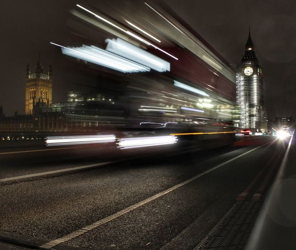 Westminster bridge at night Blurred Motion Transportation Illuminated Night Motion City Big Ben Destinations Night Lights London At Night  The Week On EyeEm London Streets Low Angle View Speed Mode Of Transport Light Trail Building Exterior Built Structure Architecture City Road No People Outdoors High Street Sky HUAWEI Photo Award: After Dark