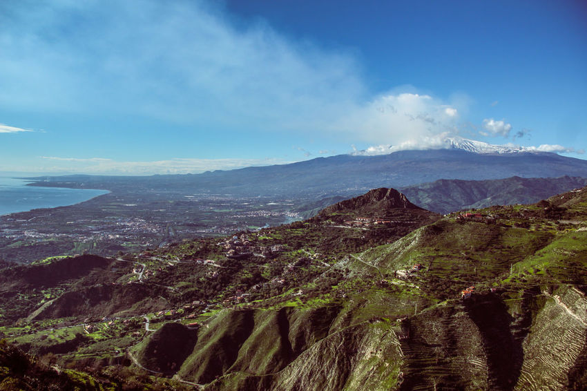 Aerial View Agriculture Beauty In Nature Castelmola City Cloud - Sky Day Drone  Etna, Mountain, Sicily, Growth Landscape Mountain Mountain Range Nature No People Outdoors Scenics Sicilia Sicily Sicily, Italy Sky Taormina Tranquility Travel Destinations Tree