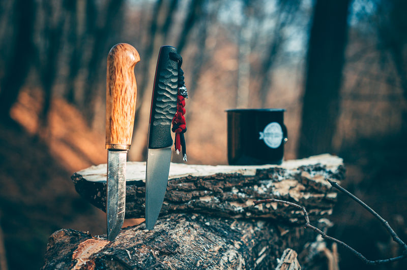 Close-up of two knives in forest