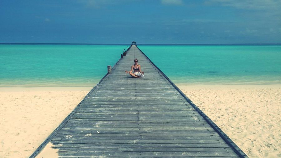 EyeEm Selects Day Outdoors Sea And Sky Maldives Tranquil Scene Tranquility Thinking Woman Sky Nature Water Beach Sea Outdoor Photography Ouside Breathing Space