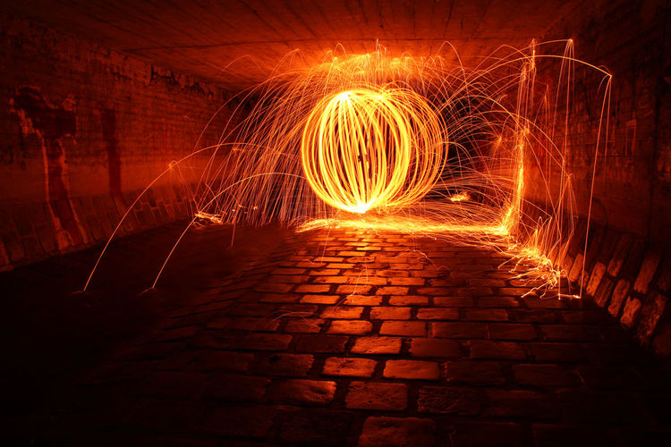 Fireball Ball Illuminated Long Exposure Motion Night No People Outdoors Wire Wool Zorb