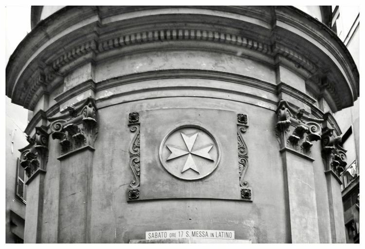 Church of San Pancrazio Knights Of Malta Malta Cross Hystorical Place Vicoli Di Genova Built Structure Building Exterior Text Low Angle View Day No People Outdoors Travel Destinations City Close-up Facade Detail Black And White Mass Messa In Latino