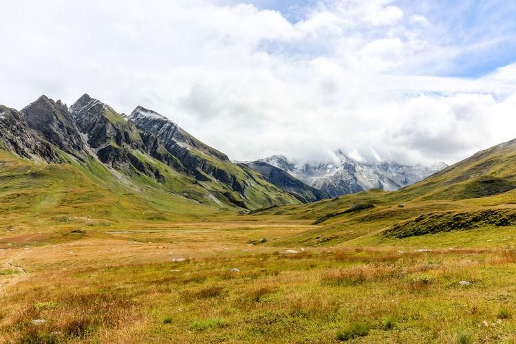 Greina high plateau in swiss alps