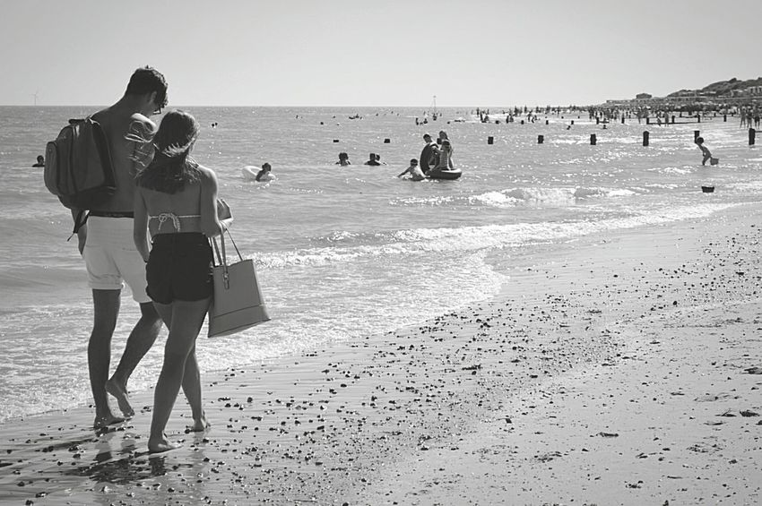 Couple Walking Young Couple Couple On The Beach Unknown People People Watching People Photography Day At The Beach Beach Beach Day Beach Photography By The Sea Walk On The Beach  Sandy Beach Sand & Sea Sea And Sky Seaside British Seaside Sunny Day Black & White Black And White Black & White Photography Black And White Photography Frinton-on-Sea United Kingdom Nikon D3200