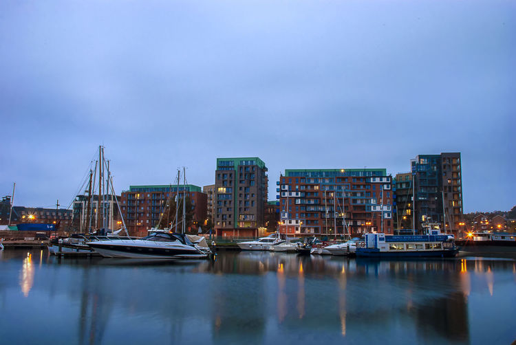 Early morning over the wet dock in ipswich, uk