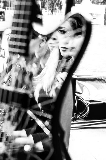 ::: Experimenting During Soundcheck ::: The Week on EyeEm Music Electropop Electronic Music Blackandwhite Simonnejones Concert Photography Soundcheck Guitar Reflections Mirror Portrait Beautiful Woman Females Women